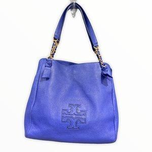 Tory Burch XL TB ROYAL BLUE LEATHER Shoulder Bag